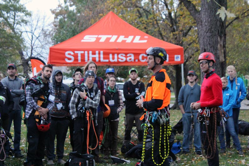 STIHL pop up tent with Arborists standing in harnesses